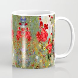 Red Geraniums in Spring Garden Landscape Painting Coffee Mug