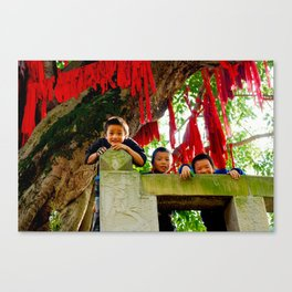 curious kids. Canvas Print