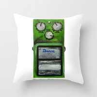 """u2 Throw Pillows featuring Ibanez TS-9 Tube Screamer Guitar Pedal acrylics on 5"""" x 7"""" canvas board by a collection. James Peart"""