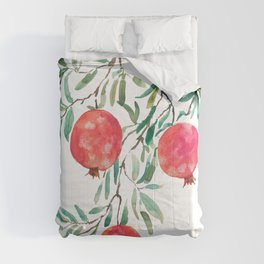 red pomegranate watercolor Comforters