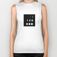 moon phases Biker Tanks featuring Moon Phases on Black by Kate & Co.
