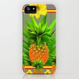 HAWAIIAN FLORAL GREY COLOR PINEAPPLE ART iPhone Case