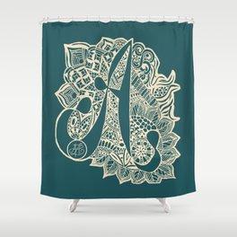 Zentangle A teal Shower Curtain