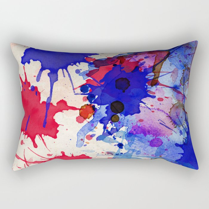 Blue & Red Color Splash Rectangular Pillow