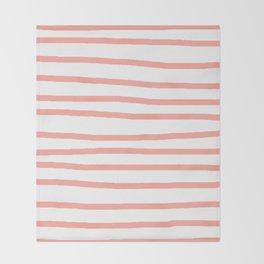 Simply Drawn Stripes Salmon Pink on White Throw Blanket