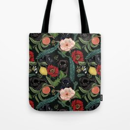 Botanical and Black Pugs Tote Bag