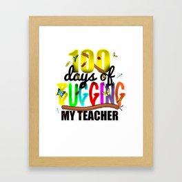 100 Days of School for Kindergarten Elementary Kids Light Framed Art Print