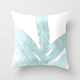 Ice Blue Fern in Summer White Throw Pillow