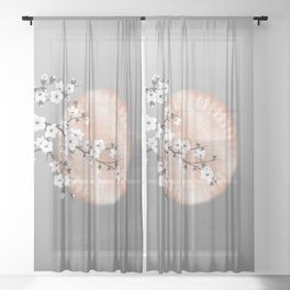 Japanese Cherry Blossom Rose Gold Gray Sheer Curtain