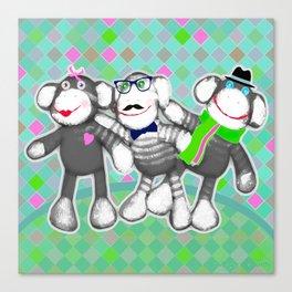Sock Monkey Buddies Art Print   Canvas Print