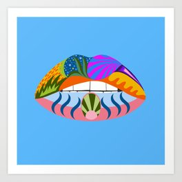 Lips with bold abstract patterns, blue retro pop art illustration Art Print