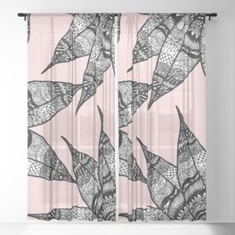 Artsy Black White Pink Hand Drawn Flower Drawing Sheer Curtain