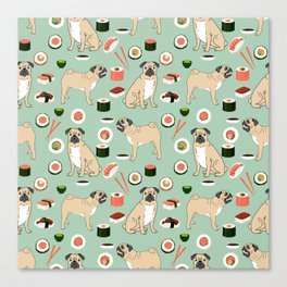 Pug sushi pattern dog breed cute pet art pet friendly gifts pugs Canvas Print