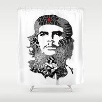 che Shower Curtains featuring CHE by Rebecca Bear