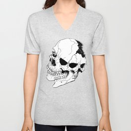 Skull #6 (Fragmented and Conjoined) Unisex V-Neck