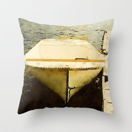 Dock and Dory, Lily Bay State Park, Maine Throw Pillow
