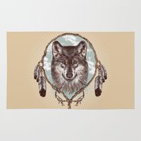 gray Area & Throw Rugs featuring Gray Wolf by Rachel Caldwell