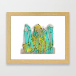 Crystals - Cyan Framed Art Print