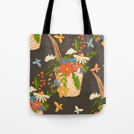 Basket with a bouquet of flowers, dark seamless background Tote Bag