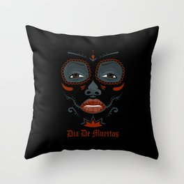 Mexican girl in tattoo style with traditional make-up Throw Pillow