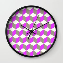 Diamond Repeating Pattern In Ultra Violet Purple and Grey Wall Clock