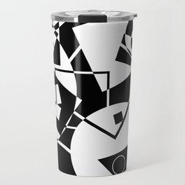 Simply Black And white - Abstract, geometric, retro, black and white random pattern Travel Mug