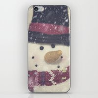 snowman iPhone & iPod Skins featuring Snowman by Photography and Fine Art by Pamela