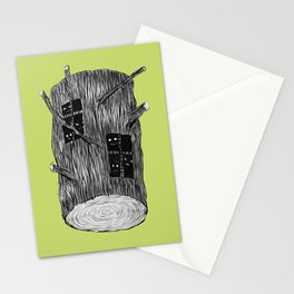 Mysterious Forest Creatures In Tree Log Stationery Cards