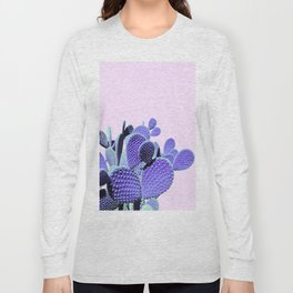 Prickly Cactus - Purple on Pink #cactuslove #tropicalart Long Sleeve T-shirt