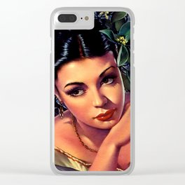 Jesus Helguera Painting of a Sultry Spanish Calendar Girl Clear iPhone Case