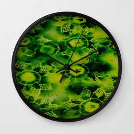 Lime Black Flowers Wall Clock