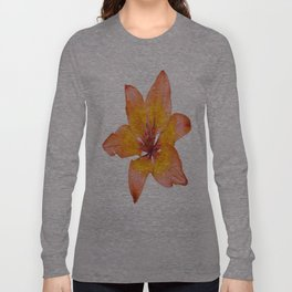 Coral Colored Lily Isolated on White Long Sleeve T-shirt