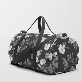 Vintage flowers on black Duffle Bag