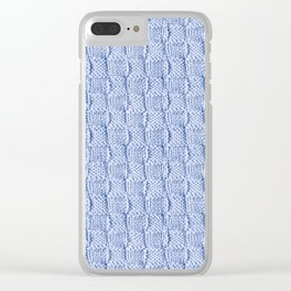 Pale Blue Knit Textured Pattern Clear iPhone Case
