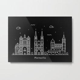 Marseille Minimal Nightscape / Skyline Drawing Metal Print