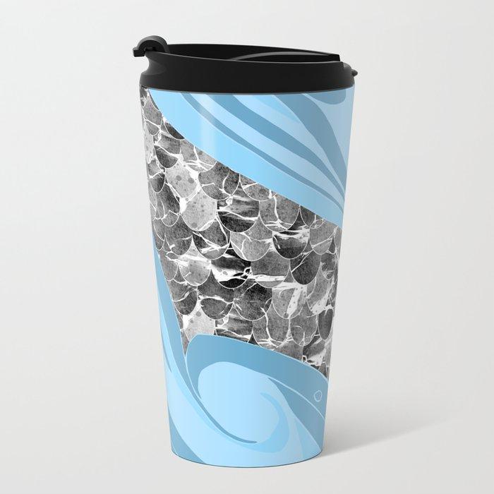 Blue Waves Abstract Mermaid Scales Pattern Metal Travel Mug