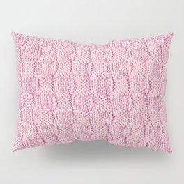 Soft Pink Knit Textured Pattern Pillow Sham