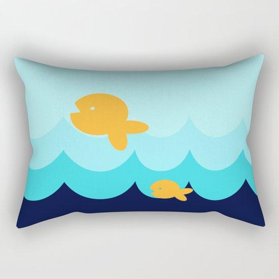 Beach Series Aqua- Gold Fish Animals in the deep See Rectangular Pillow