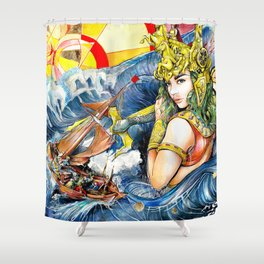 Storm on the sea of the goddess Shower Curtain