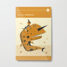 N is for NARWHAL Metal Print