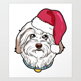 Havanese Dog Christmas Hat Present Art Print