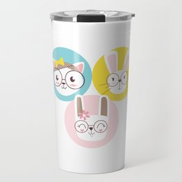 Three Portraits of a Cat and Two Rabbits Travel Mug
