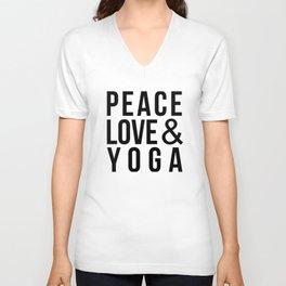 Peace Love & Yoga Unisex V-Neck