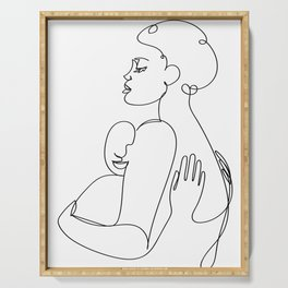 Mother's Embrace, Minimal Line Drawing Serving Tray