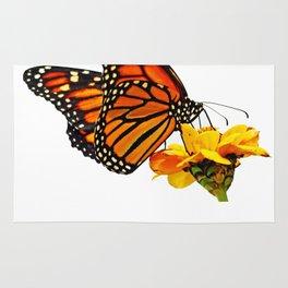 Monarch Butterfly on Zinnia Flower Rug