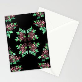 Red Coralline Flowers Stationery Cards