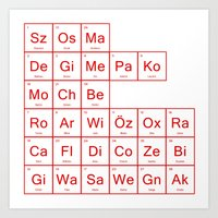 arsenal Art Prints featuring Periodic Table of Arsenal by jamestan14