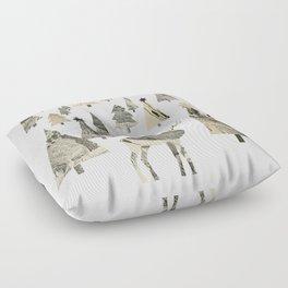 Winter Woods, collage Floor Pillow
