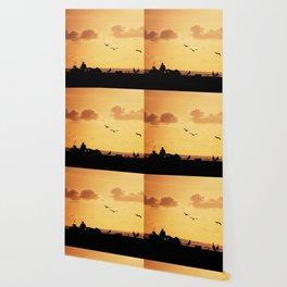 Fisherman at sunset Wallpaper