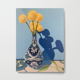 Vase with Yellow Flowers Metal Print